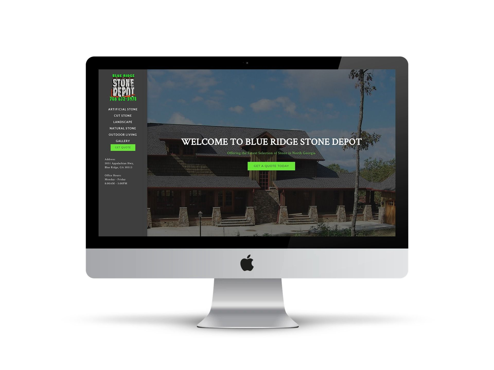 Stone Depot - - home page on screen