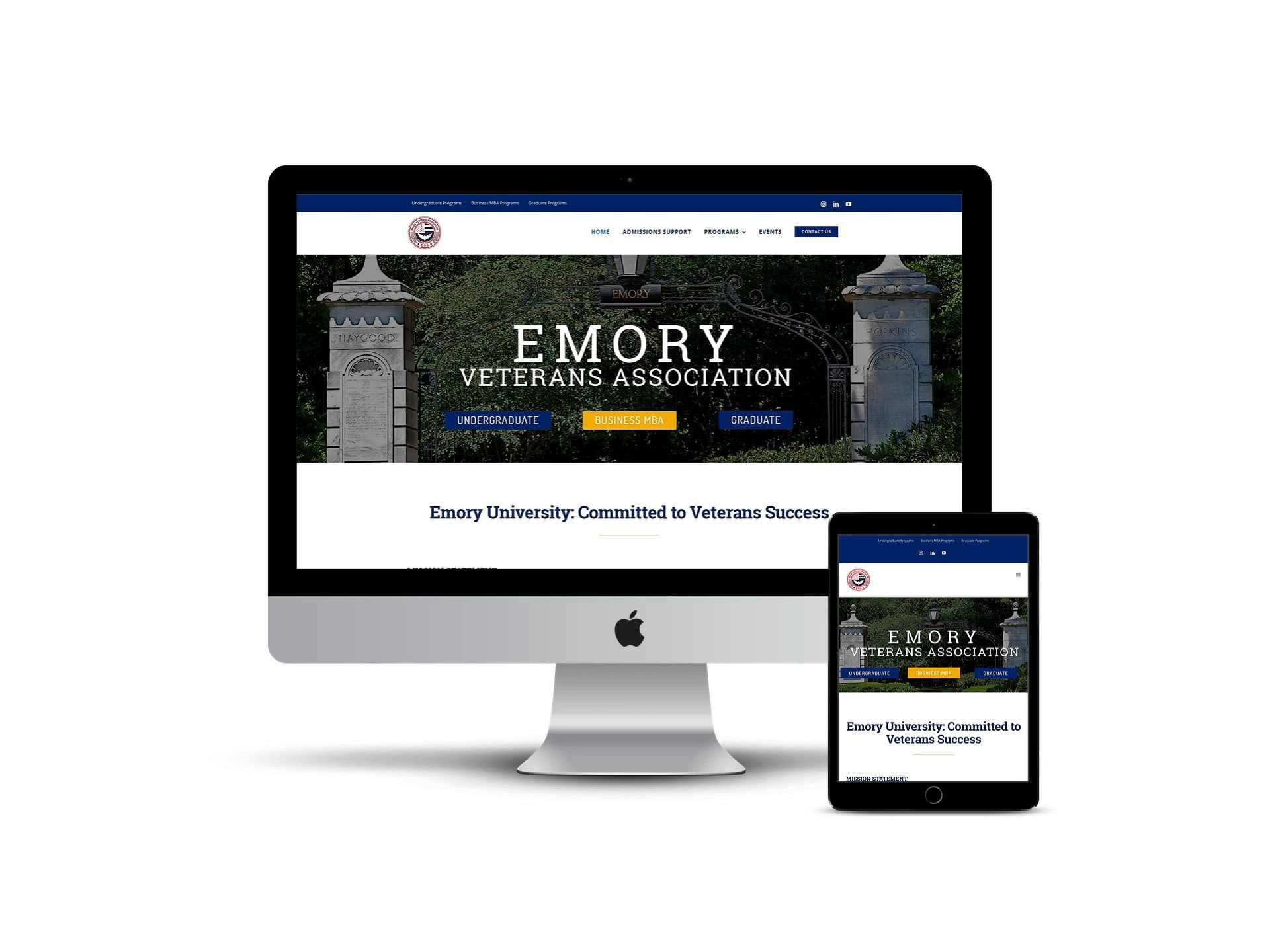 Emory Veterans Association - home page on different smart screens