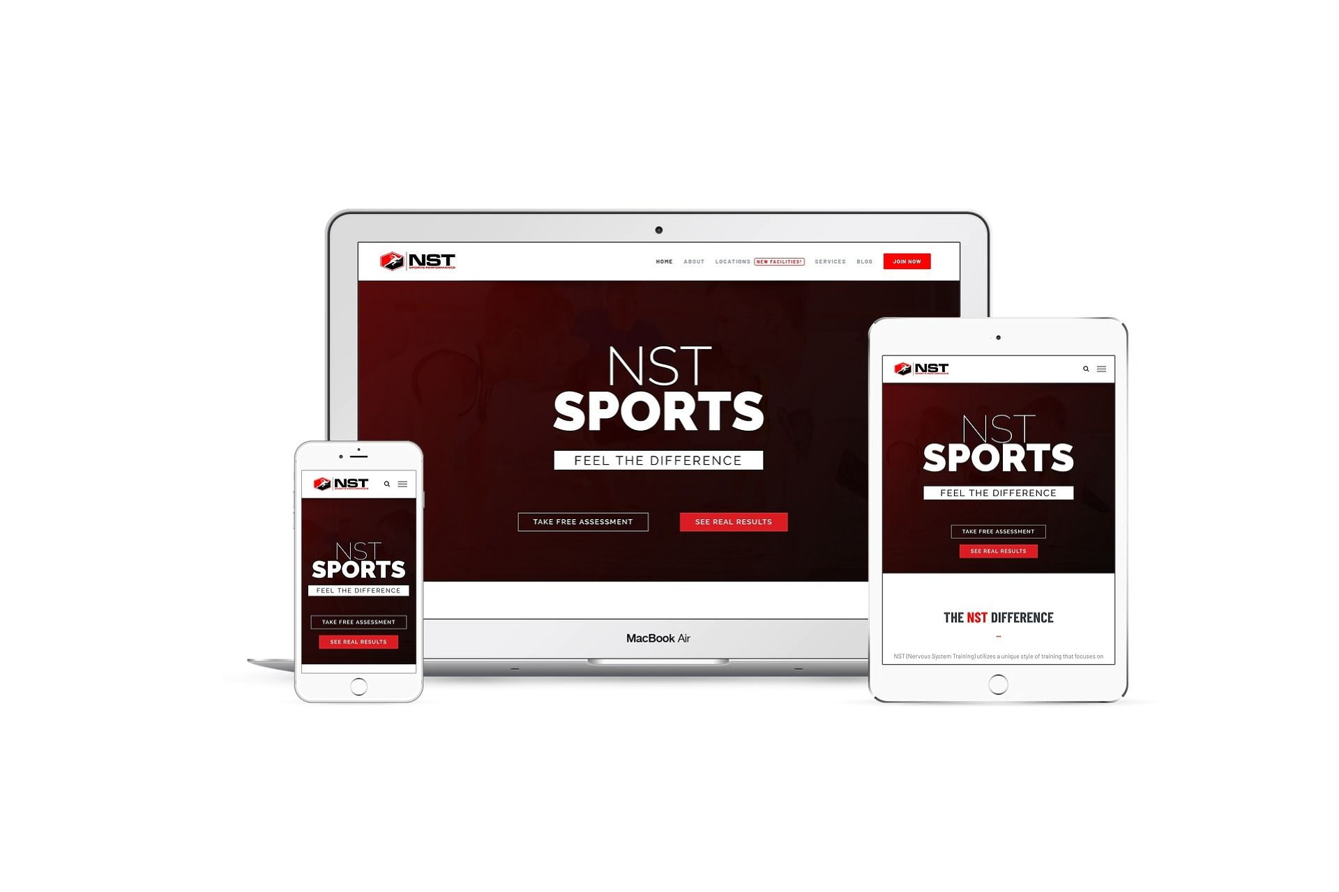 NST Sports - home page on different smart screens