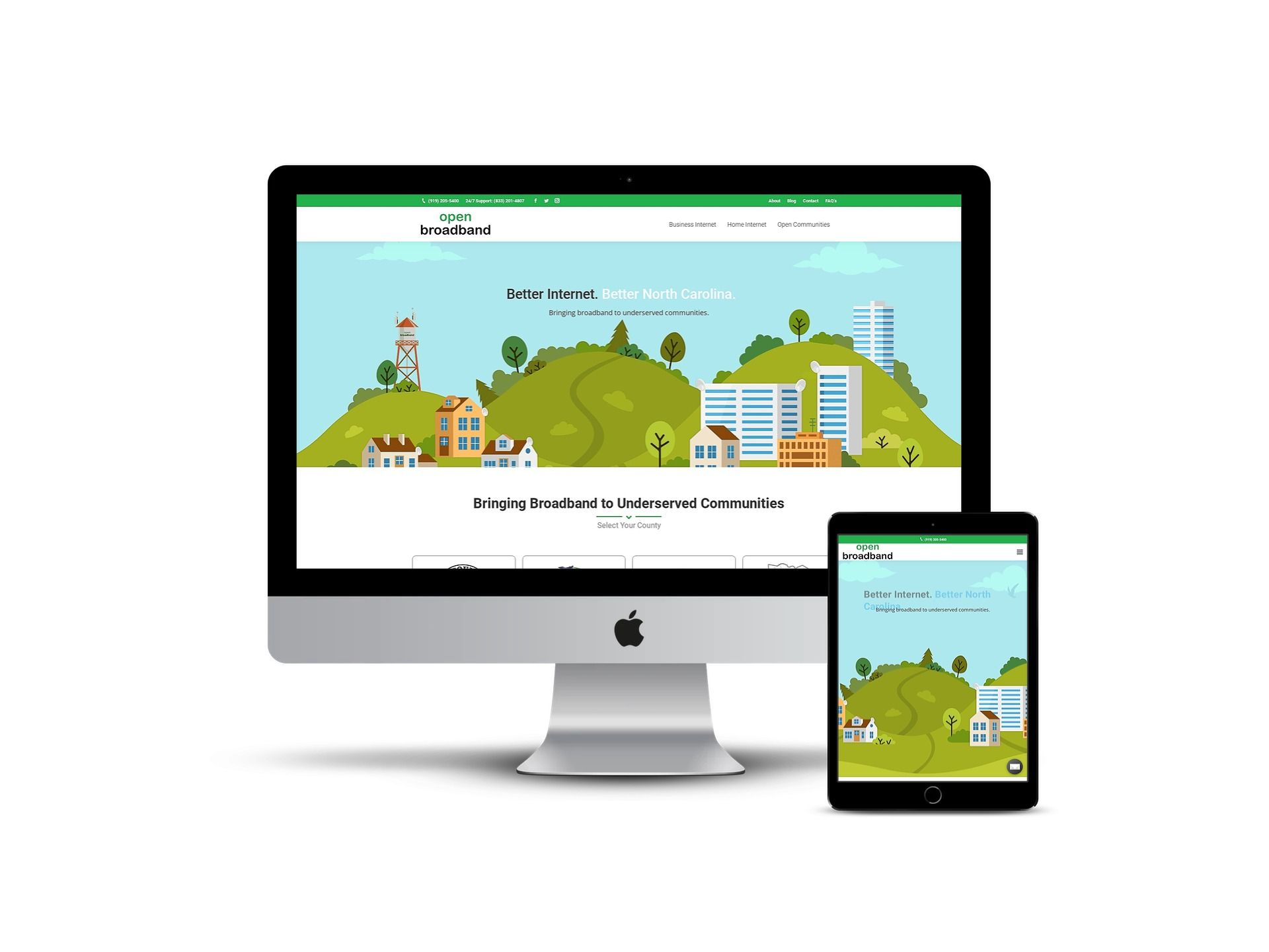 Open Broadband - home page on different smart screens