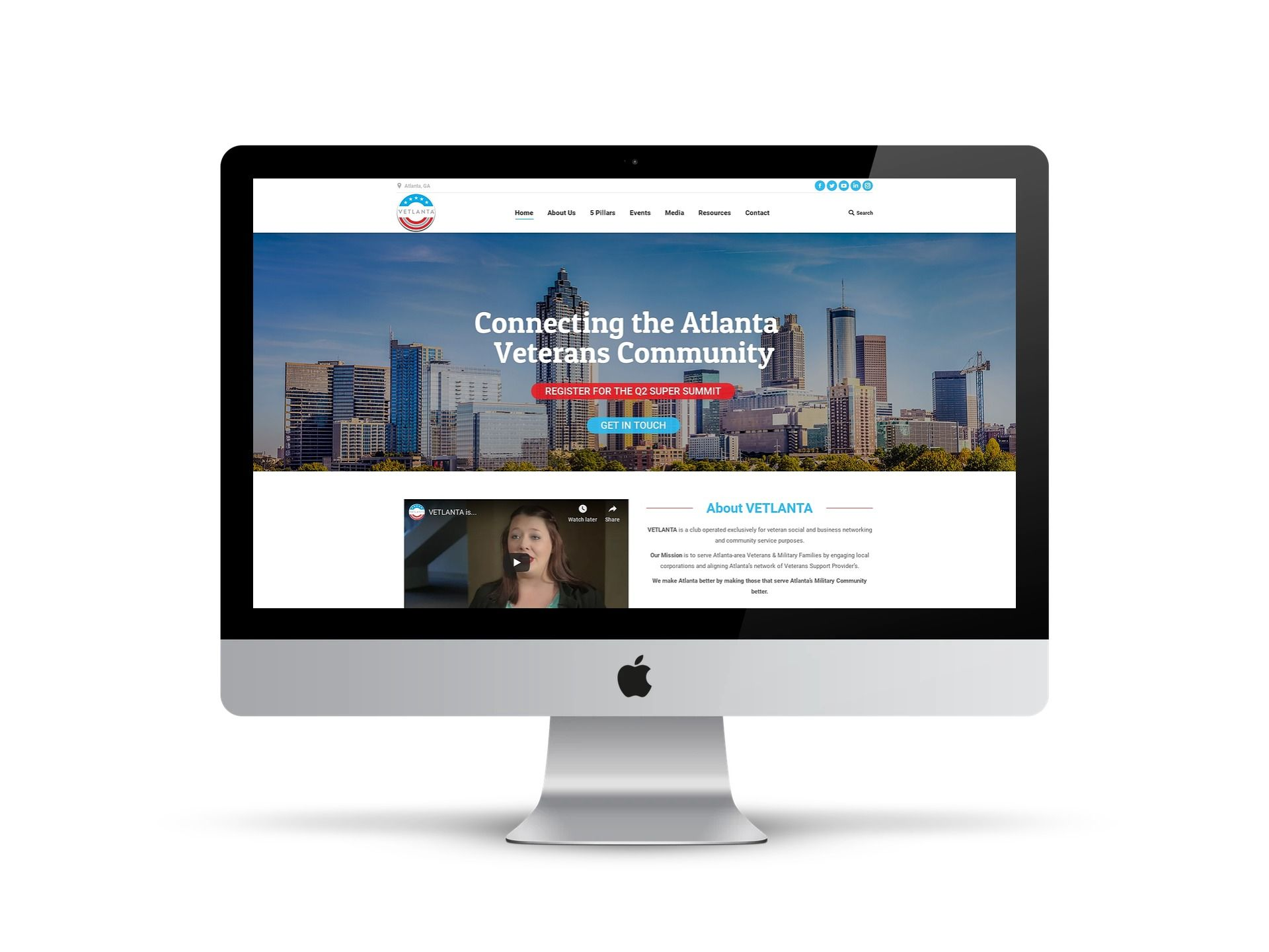 Vetlanta - home page on different smart screens