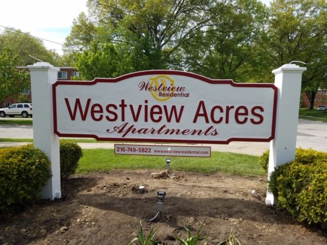 sandblasted sign for apartments in northeast ohio