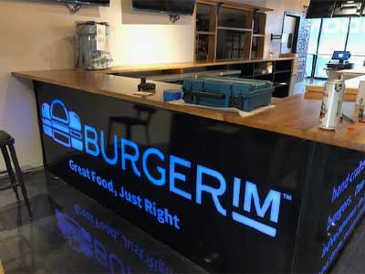 Lighted sign for burger IM