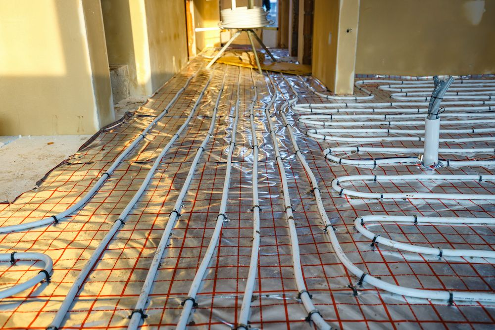 A newly-installed radiant heating system.