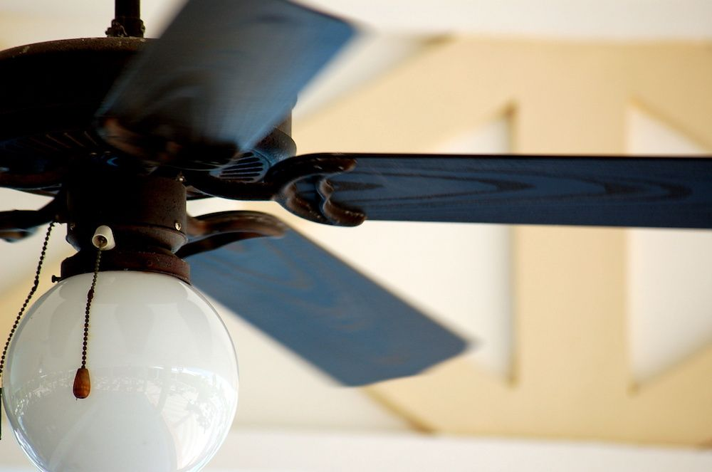 A ceiling fan spins after installation