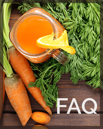 A table with carrots, herbs and orange juice on it. Text says FAQ over the image
