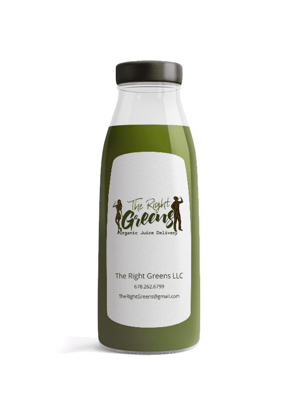 One juice from The Right Greens. 678.262.6799 TheRightGreens@gmail.com