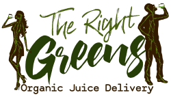 A man and woman drinking green juice. The Right Greens Organic Juice Delivery