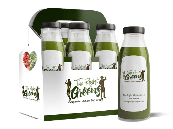 Several bottles of juice in a carrier. The Right Greens 678.262.6799 TheRightGreens@gmail.com