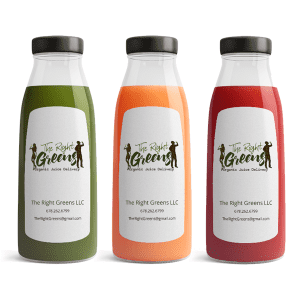 Three Juices from The Right Greens. 678.262.6799 TheRightGreens@gmail.com