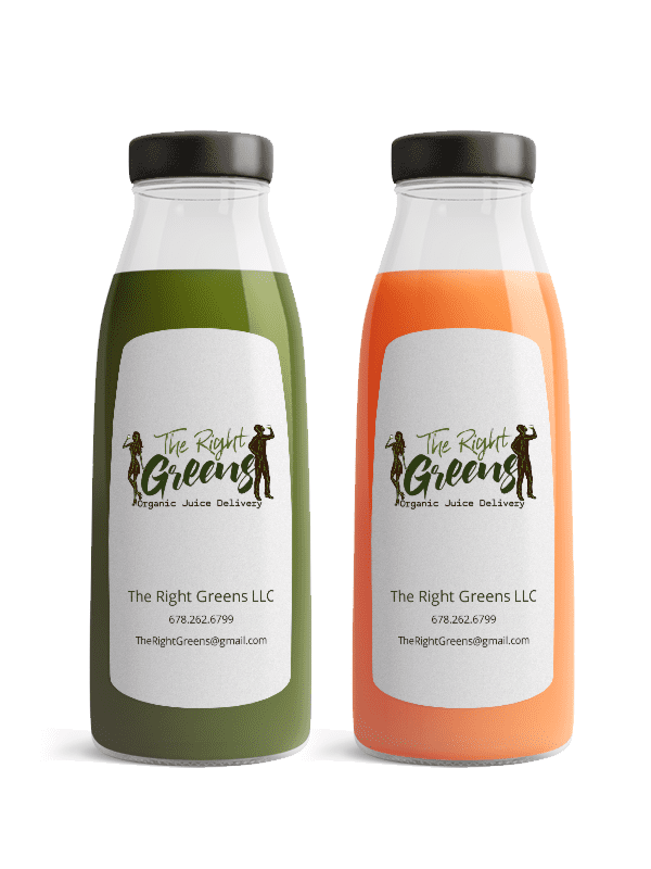 Two Juices from The Right Greens. 678.262.6799 TheRightGreens@gmail.com