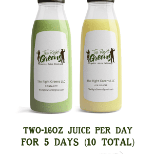 Two juices from The Right Greens. Two 16 oz juices delivered per day for 5 days (10 total). Weekly recurring delivery. 678.262.6799 TheRightGreens@gmail.com