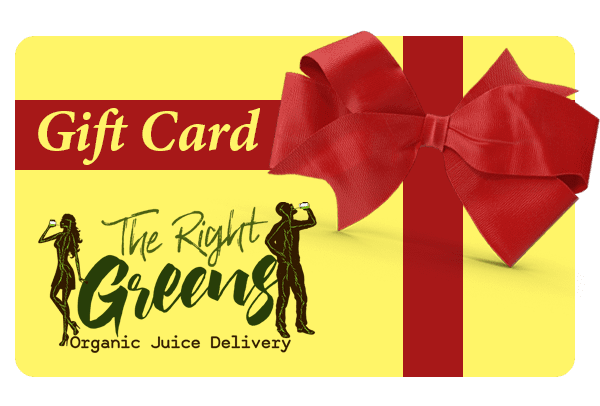 Yellow gift card with red ribbon on it and the logo for The Right Greens Organic Juice Delivery