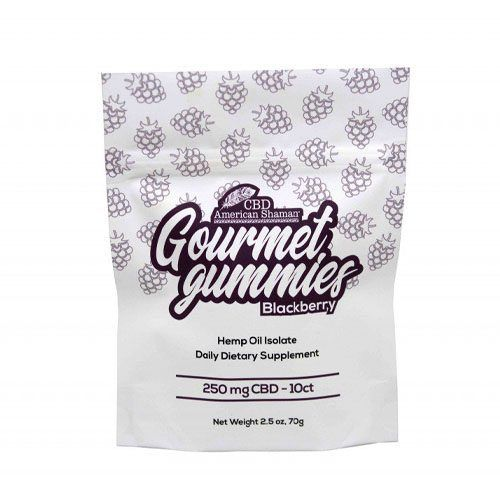 White bag of Blackberry CBD gummies.