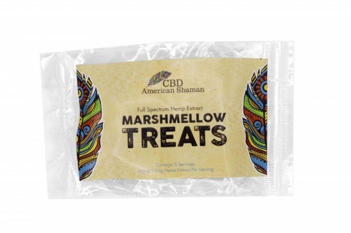 Small cellophane bag with packaging for Marshmallow Treats.