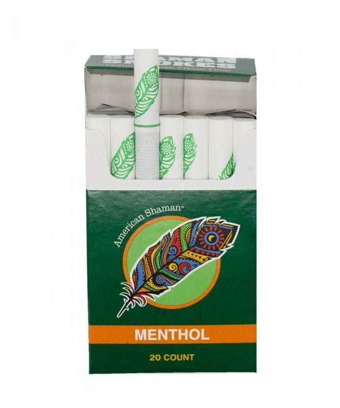 Open box of Menthol flavored hemp cigarettes, with one slightly erect.