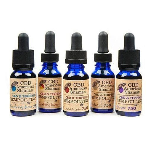 5 small blue bottles of Terpene rich hemp oil with droppers.