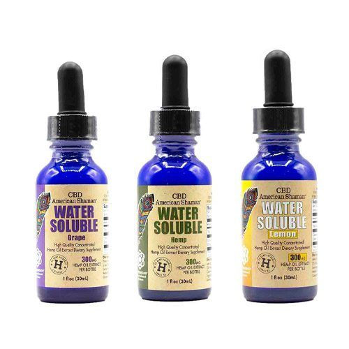 3 small blue bottles of CBD oil with droppers.