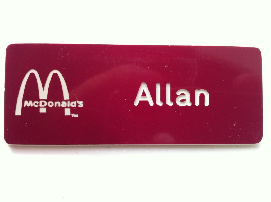 Allan McDonalds name tag